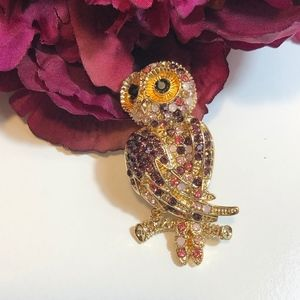 Monet Owl Brooch Purple Pink Rhinestone Gold Tone